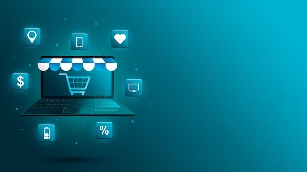 Плавающий 3d-ноутбук с козырьком для магазина, значками продуктов и тележкой на экране.