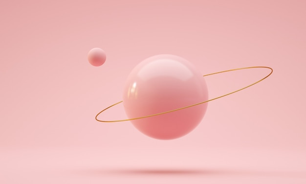 金の指輪と軌道球ピンク色のフローティングボールdレンダリング