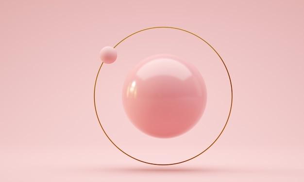 Плавающий шар с золотым кольцом и орбитальной сферой розового цвета d визуализации