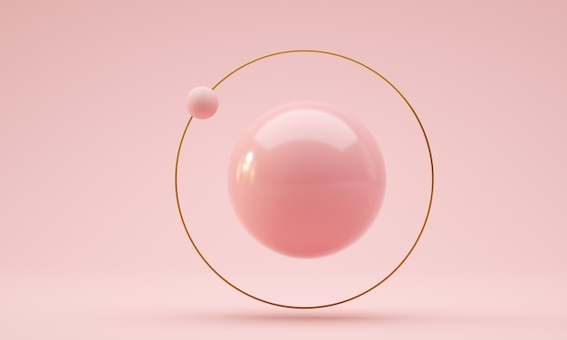 Floating ball with golden ring and orbital sphere pink color d render