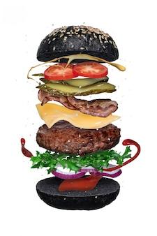 Floating black burger layers