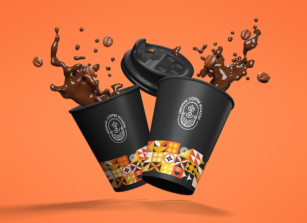 Floating black and colorful patterned paper cups with splashing coffee mockup on orange background
