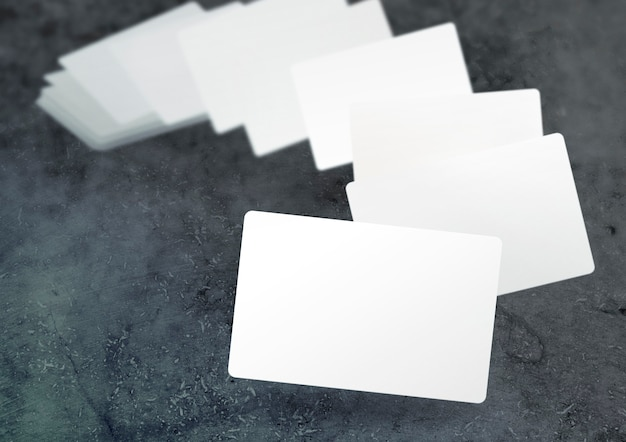 Floating blurred business cards