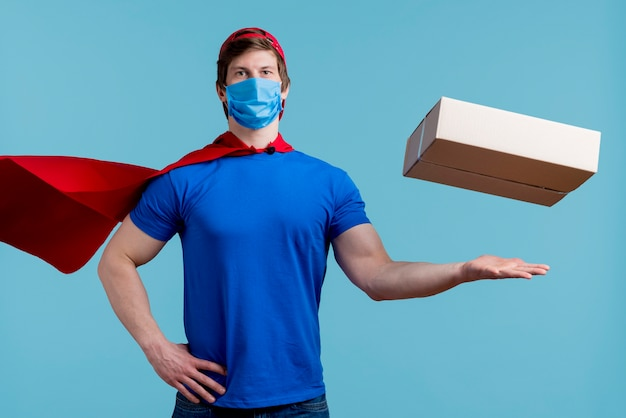 Floating box with super hero