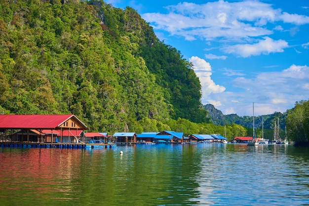 A floating fish farm on the island of langkawi in malaysia.