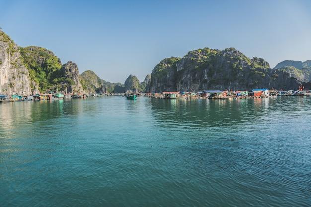 Floating fishing village in the ha long bay