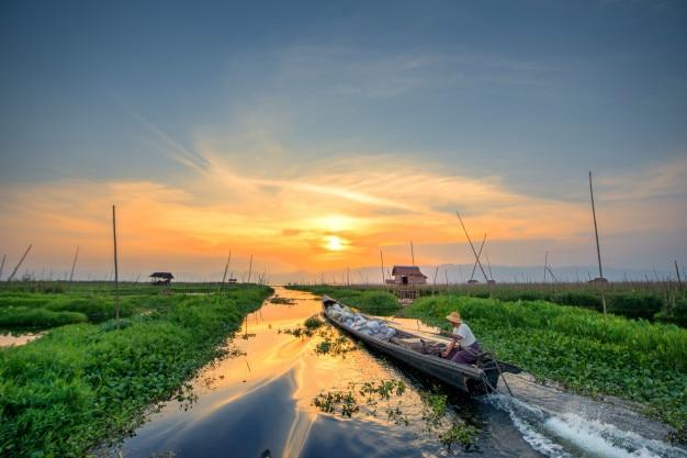 Floating garden in inle lake, myanmar, burma