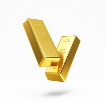 Floating golden bars on white