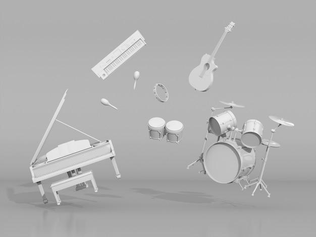 白い背景の上のフローティング楽器