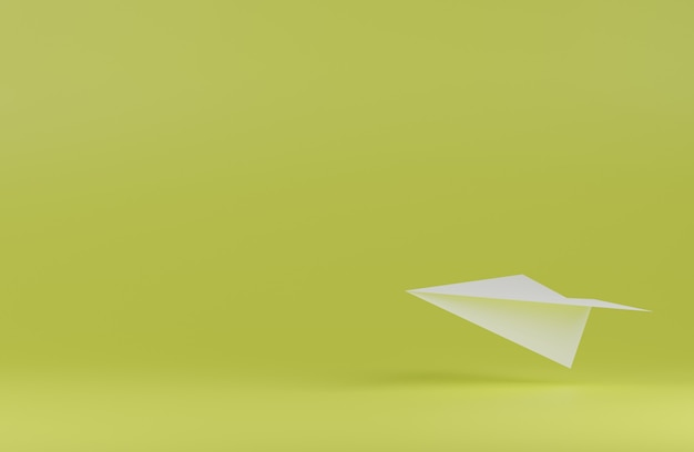 Плавающий бумажный самолетик на зеленом фоне