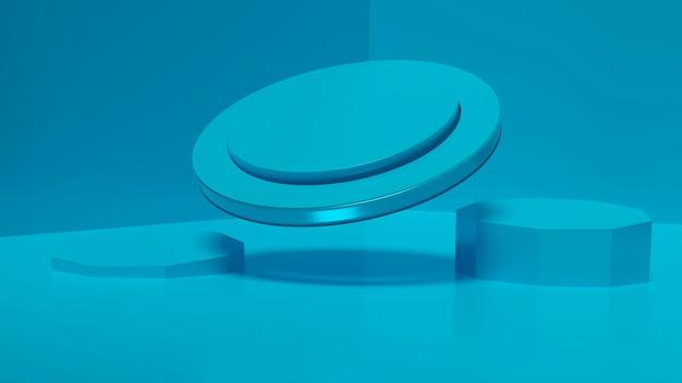 Плавучая платформа для стенда синего цвета дизайнерская платформа реалистичная 3d-рендеринг пустой пьедестал макет