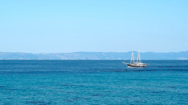 Floating sailboat in the aegean sea with birds on the surface of the water in front of it and land  greece