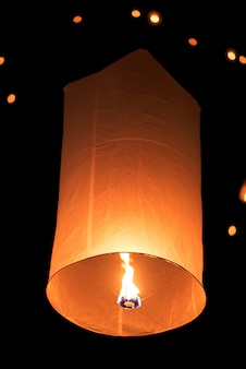 Floating sky lantern in  thai traditional new year , yi peng festival