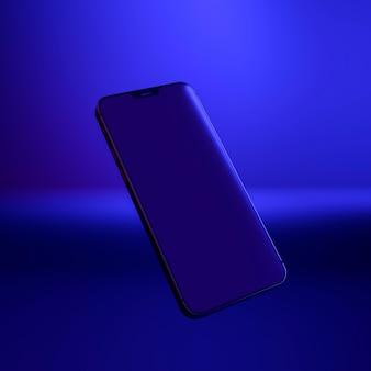 青い光の中でフローティングスマートフォン