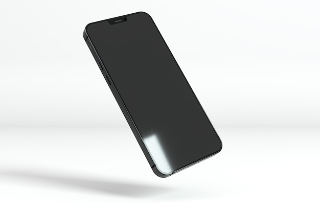 Floating smartphone on white background