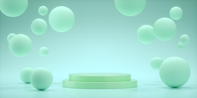 製品プレゼンテーション用の空のスペースをレンダリングするフローティング球体3d、アクアカラーを表示