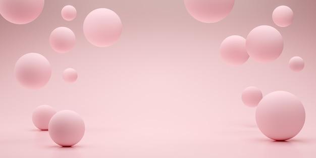 製品ショーのための空のスペースをレンダリングするフローティング球3d