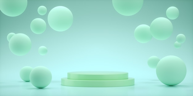 Floating spheres 3d rendering empty space for product presentation, show aqua color