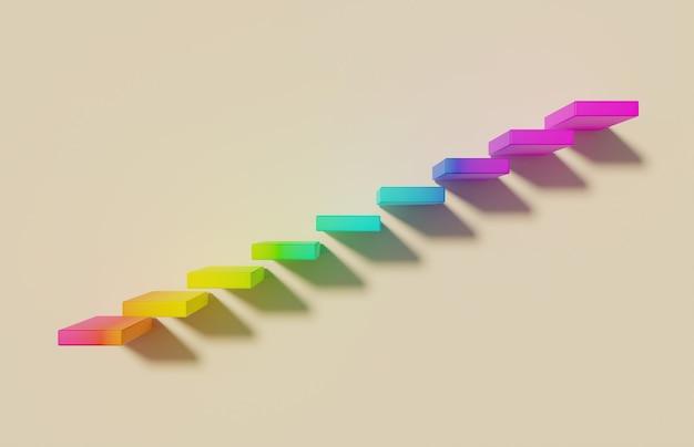 부드러운 그림자와 노란색 배경에 무지개 hsl 색상으로 부동 계단. 3d 렌더링