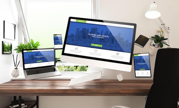 Плавающие вещи и устройства с современным веб-дизайном в домашнем офисе 3d-рендеринга