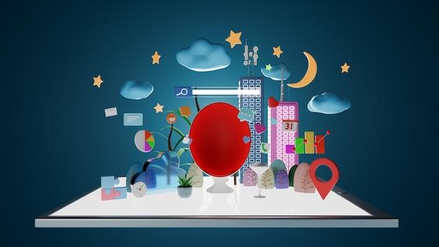 Плавающий планшетный пк с облаками, луной, диваном-креслом-яйцом, социальными сетями и значком маркетинговой диаграммы. концепт-арт цифрового образа жизни. 3d-рендеринг.
