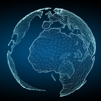 Floating white and blue planet earth network 3d rendering
