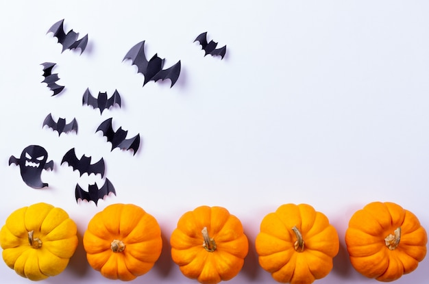Flock of black paper bats and fresh pumpkins on white surface