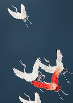 Flock of cranes background design