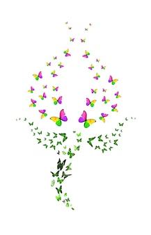 흰색 배경에 고립 된 튤립의 형태로 나비의 무리. 빨간 새싹. 열대 곤충. 디자인에 대 한 색된 나방입니다. 고품질 사진