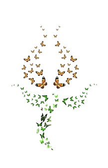 Стая бабочек в виде тюльпана на белом фоне. красный бутон. тропические насекомые. . фото высокого качества