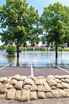 Flooding in magdeburg, germany, . sandbags protect against the water