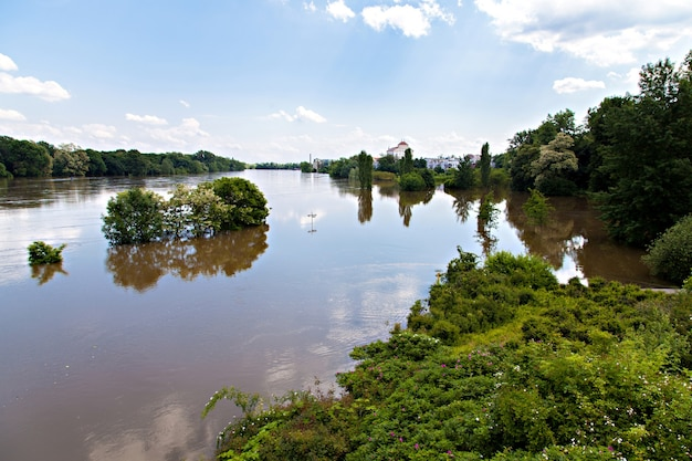 Flooding in magdeburg, germany,