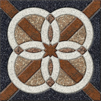 Floor decorative stone tiles with a pattern. element for interior design from natural colored granite