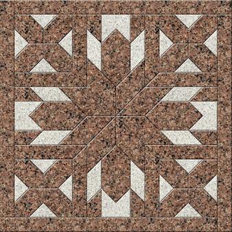 Напольная декоративная плитка из натурального гранита. геометрический узор из камня. элемент дизайна