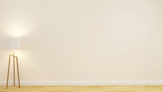 Floor lamp in empty room for artwork - 3d rendering
