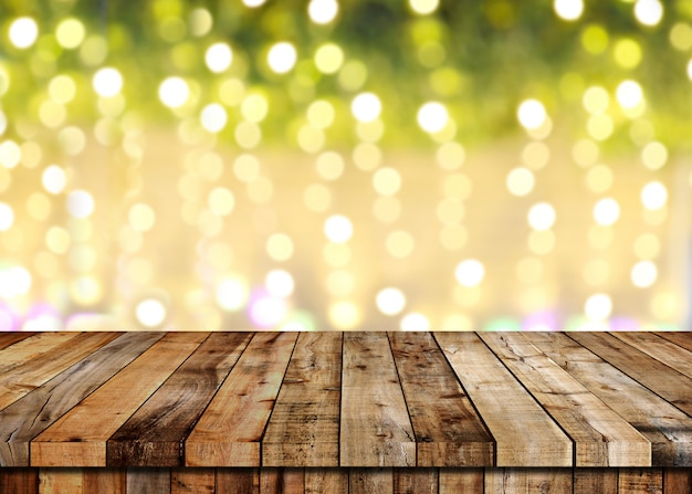 Floor of wooden table and christmas bokeh background.