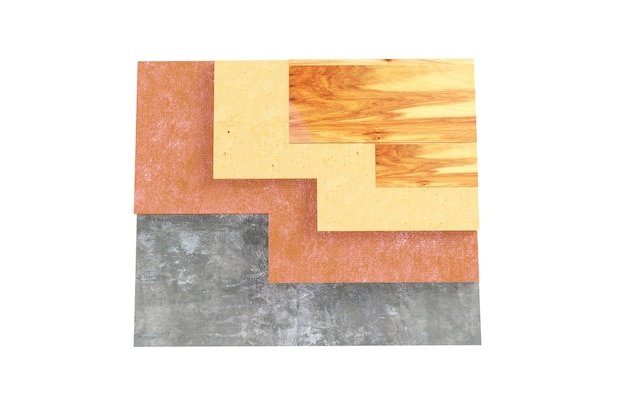 바닥, 바닥 단열, 흰색 배경에 고립 된 3d 그림