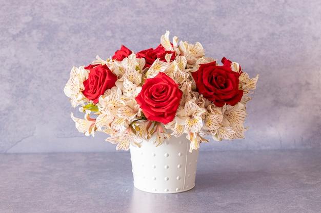 Floral arrangement composed of red roses for spring