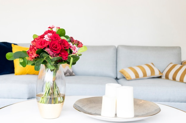 Floral arrangement decorating the living room of the house