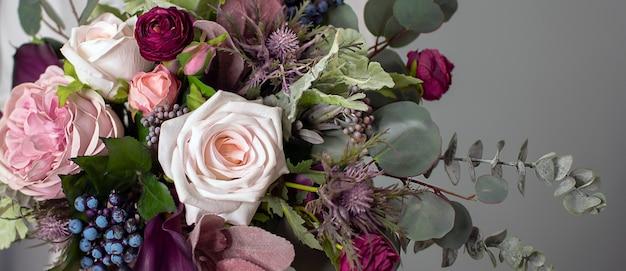 꽃 배경 긴 꽃 배너 floristics 보라색과 녹색 다채로운 꽃다발