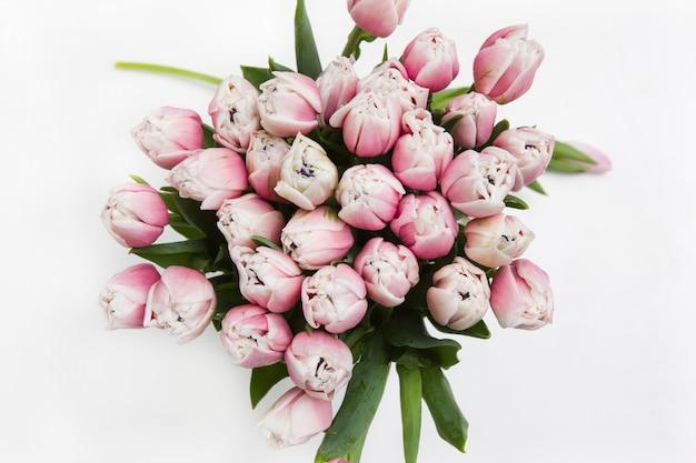 Цветочный фон из светлых розовых тюльпанов на белом фоне, вид сверху. весенние каникулы, день матери и женщины и концепция украшения