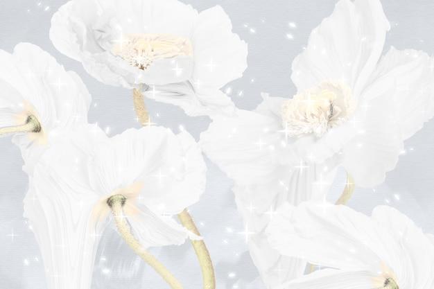 Цветочный фон, белый мак абстрактное искусство