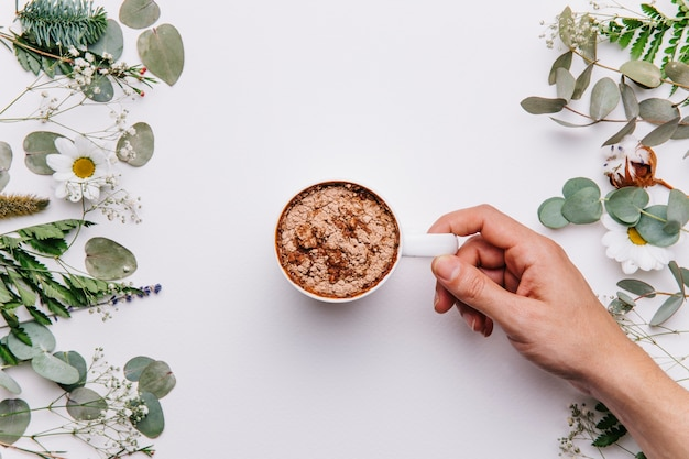 Floral background with cocoa