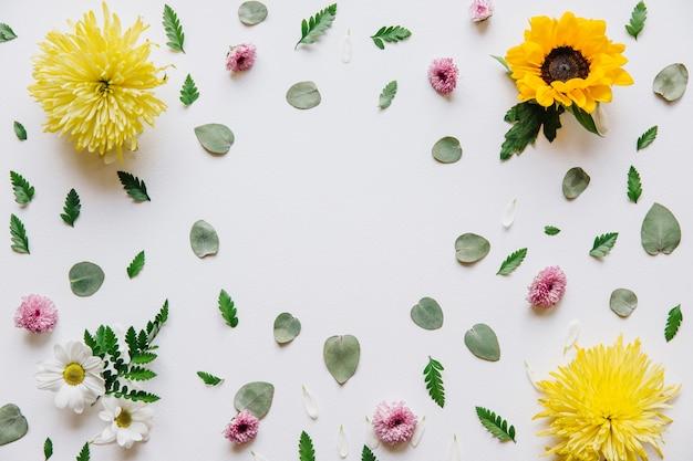 다른 꽃과 꽃 배경