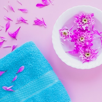 Floral beauty concept with bowl of flowers