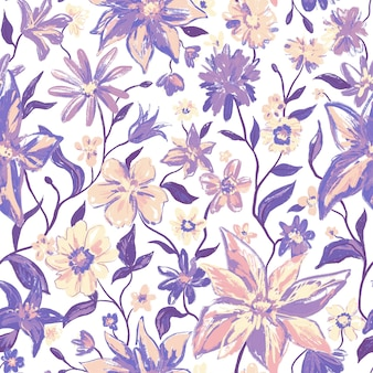 カラフルな花と紫色の葉を持つ花の植物のシームレスなパターン。白のフェミニンなカラフルなかわいい手描きイラスト。