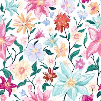 カラフルな花と葉を持つ花の植物のシームレスなパターン。