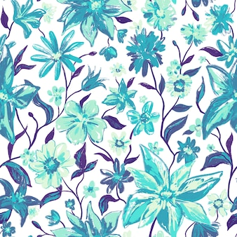 Floral botanical seamless pattern with colorful flowers and leaves in blue green colors and watercolor style