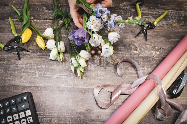 Floral bouquets on the table.