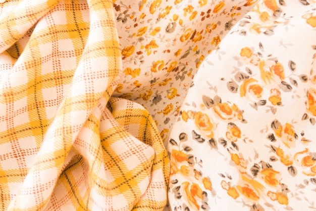 Floral and checkered fabric background